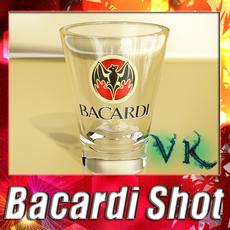 Photorealistic Bacardi Rum Shot Glass. 3D Model