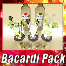 High Detailed Bacardi Bottle, Mojito and Rum Shot. 3D Model