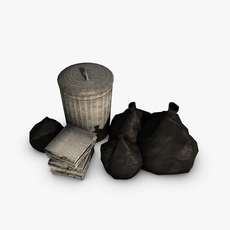 Trash bin with garbage and newspapers 3D Model
