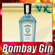 Photorealistic Bombay Sapphire Gin Bottle 3D Model