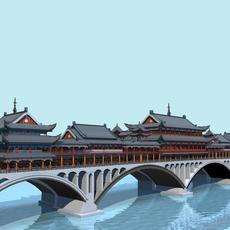 China ancient birdgr 1 YaAn Wind and Rain porch Bridge DAY scene 3D Model