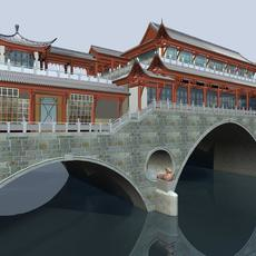 China ancient birdge 2 AnShun bridge day scene 3D Model
