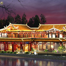 The Fulongguan Temple lighting 3D Model