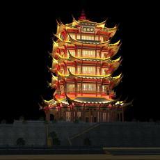 The Huanghelou Tower night sence 3D Model