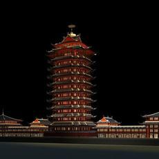 The Shita Tower night scene 3D Model