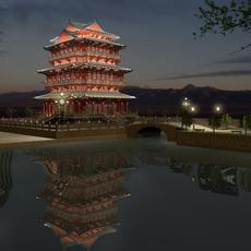 The Tengwangge Tower Night sence 3D Model
