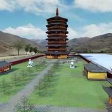 The Yinxian Timber pagoda 3D Model