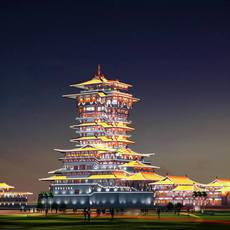 The Yuewanglou Tower Night sence 3D Model