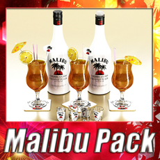 Malibu Bottle, Cocktail and Shot Glass Collection 3D Model