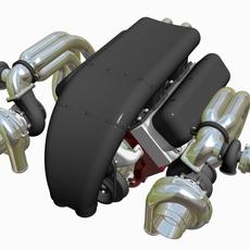 Twin-Turbo Chevrolet Big Block Engine 3D Model