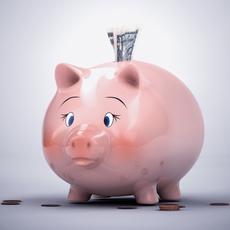 Piggy Bank with Money 3D Model