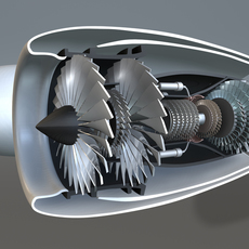 Jet Engine Turbine 3D Model