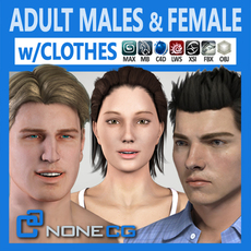 Pack - Adult Males and Female Megapack 3D Model