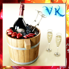 Champagne Set 2 - Bottle, Flute, Strawberry and Wooden Ice Bucket 3D Model