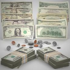 US Money Collection 3D Model