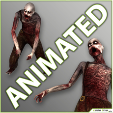 Male Zombie Generic with 11 animations 3D Model