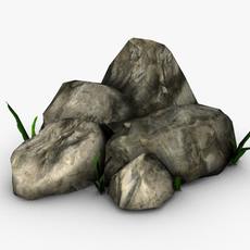 Rocks with small plants 3D Model