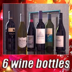 6 Wine Bottles Collection 3D Model
