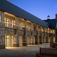 Stone Library Building Scene 3D Model