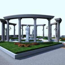 Classical Columns & Statue Architecture 016 3D Model