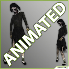 Little Girl Zombie - 11 animated cycles 3D Model