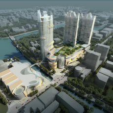 Detailed Cityscape with River  355 3D Model