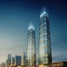 Skyscrapers at Night 587 3D Model