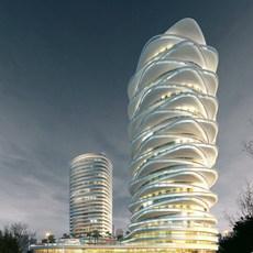 Futuristic Skyscraper at Night 716 3D Model