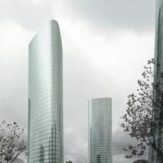 Skyscrapers at Night 729 3D Model