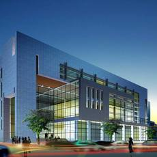 Evening mirrored minimal modern office building with glass grid windows with people and cars 3D Model