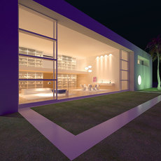 Night view modern open layout living room with sliding doors to patio 3D Model