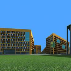 Group of Mustard yellow brick and glass modern buildings 3D Model