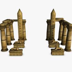 Egyptian temple entrance elements  3D Model