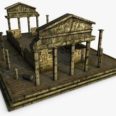 Low poly ancient temple 3D Model