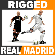 Rigged Football Player and Goalkeeper - Real Madrid CF 3D Model
