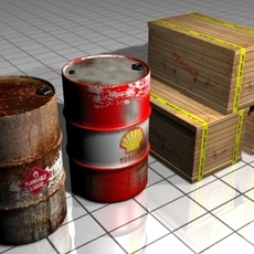 Barrel and Box 3D Model