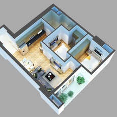 3D Model Detailed House Cutaway 6 3D Model