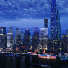 Scene of ShangHai City 3D Model