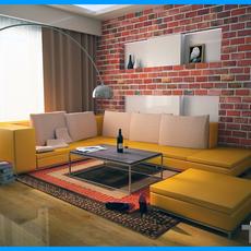 Modern Living Room Interior Scene 01 3D Model