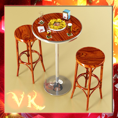 Bar Table, Stool, Becks Beers, Nacho Plate, And Napkins Dispenser Collection 3D Model
