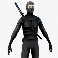 Ninja warrior with katana 3D Model