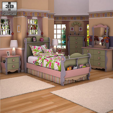 Ashley Doll House Sleigh Bedroom Set 3D Model