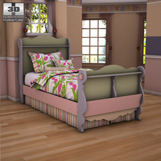 Asley Doll House Twin Sleigh Bed 3D Model
