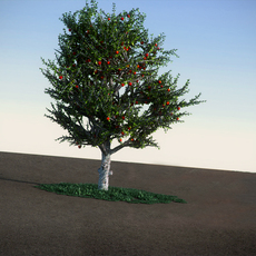 Apple with red apples HiPoly tree 3D Model