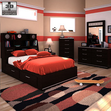 Ashley I-Zone Bookcase Bedroom Set 3D Model