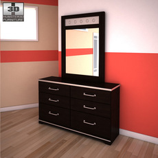 Ashley I-Zone Bookcase Dresser & Mirror 3D Model