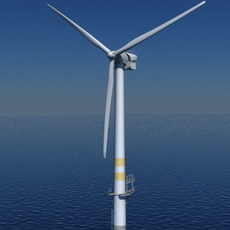 Wind Turbine Offshore Realtime 3D Model
