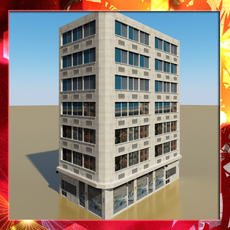 Photorealistic Low Poly Office Building 10 3D Model