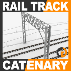 Railway Track and Catenary 3D Model