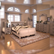 Ashley Silverglade Sleigh Bedroom Set 3D Model